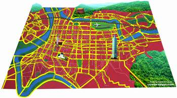 Taipei map 3D buildings red